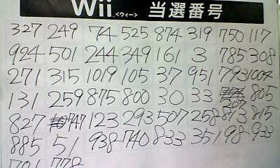 Wiiをゲットできることになった番号たち